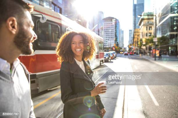people meetup in downtown going to work in the morning - toronto stock pictures, royalty-free photos & images