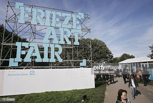 People mill about as the Frieze Art Fair opens on October 12 2006 in London England The Frieze Art Fair is held every October in London's Regent's...
