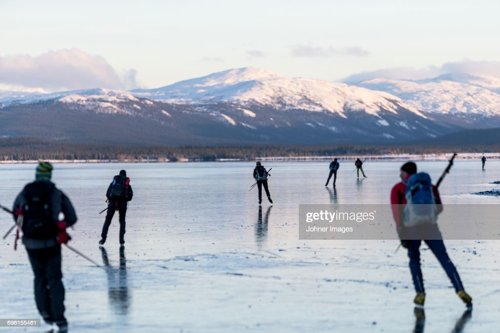 People moving on ice : Stock Photo