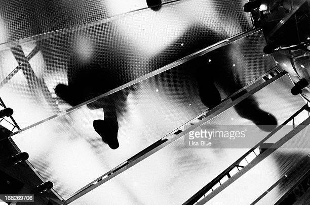 People Moving Up Glass Staircase.NYC.Black And White.