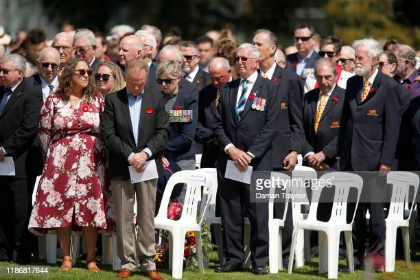 People observe a minutes silence at the Shrine of Remembrance on November 11 2019 in Melbourne Australia Remembrance Day 2019 marks 101 years since...