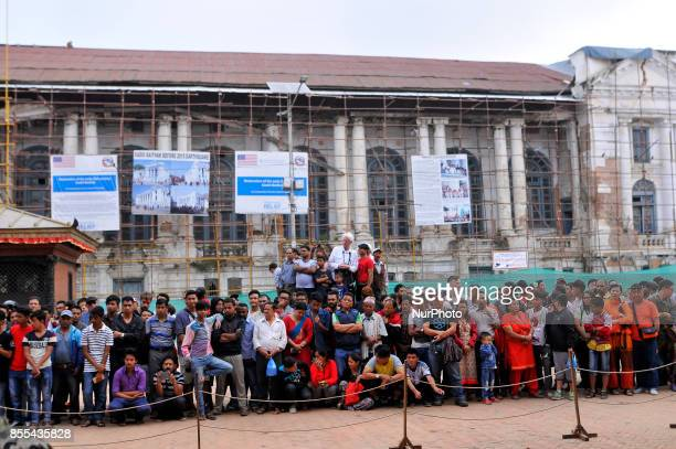 People observing a devotees sacrifice a buffalo on the occasion of Navami 9th day of Dashain Festival at Basantapur Durbar Square Kathmandu Nepal on...