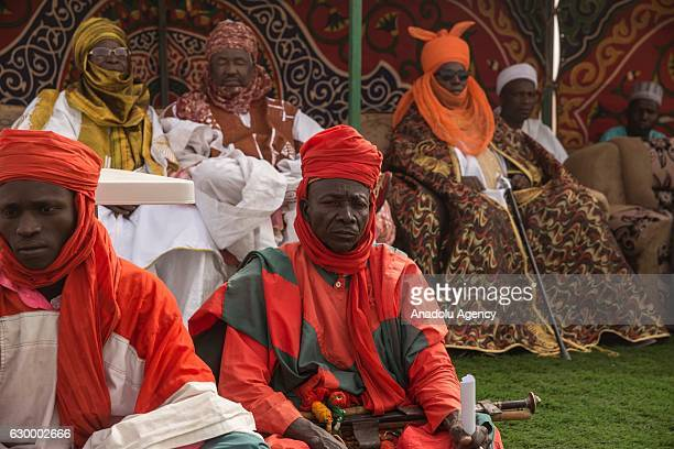 People of Agadez sing and dance with their local dresses during the coronation of Sultan of Agadez region Oumarou Ibrahim Oumarou in Agadez Niger on...