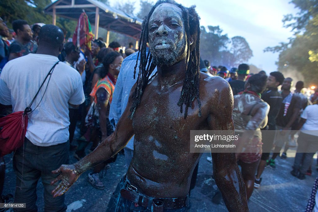 People of Caribbean descent celebrate J'Ouvert, a traditional carnival holiday celebrated before dawn that has its origins in the emancipation from slavery in the West Indies on September 5, 2016 in the Brooklyn borough of New York City . This was the first year that the city issued a marching permit for the celebration, which included a heavy police presence, because the past few years gun violence has tarnished the party in Brooklyn's East Flatbush neighborhood.