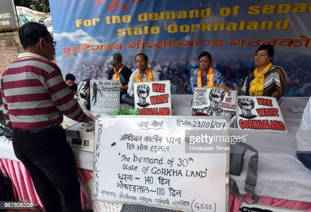 People of Gorkhaland at the demonstration site at Jantar Mantar road on October 29 2017 in New Delhi India After National Green Tribunal Court has...