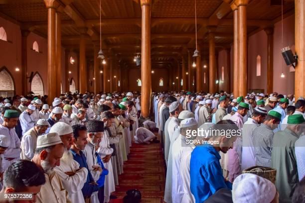 MASJID SRINAGAR JAMMU KASHMIR INDIA People of Kashmir offering Absentia funeral prayers for Senior Kashmiri Journalist and editor in chief of Rising...