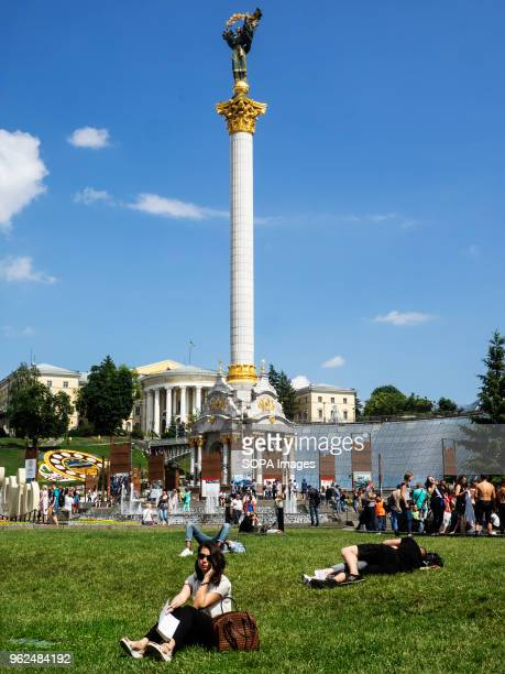 People of Kiev seen resting in Independence Square On Saturday May 26 Kiev will host the finals of the largest and most prestigious European...