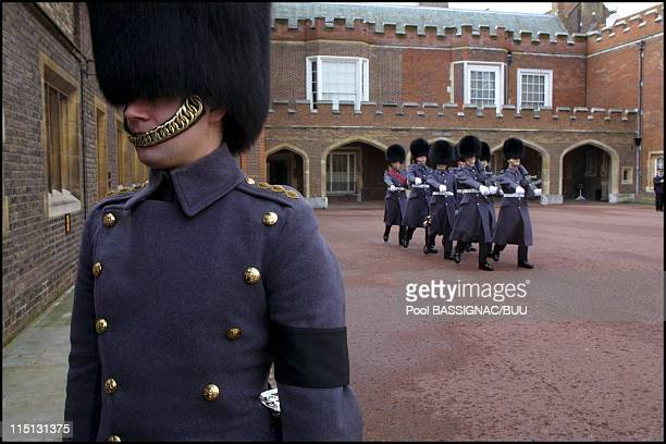 People of London pay their last respects to Princess Margaret in London United Kingdom on February 10 2002 in SaintJames Palace a grenadier from the...