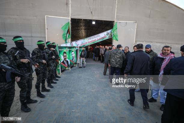 People of Palestinian group Hamas hold a condolence programme for people who were killed in West Bank occupied by Israeli armed forces in Gaza City...