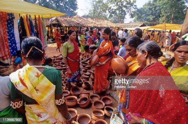 People of the Muria Tribe in a market district of Bastar in Chhatisgarh State on August 20 India