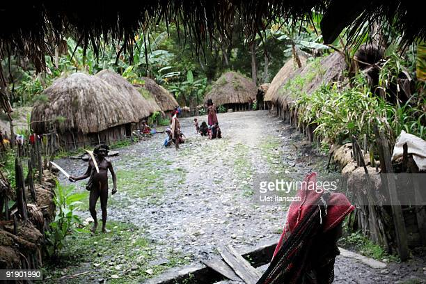 People of the traditional Dani tribe from Lembah Baliem stand in their village on October 10 2009 in Wamena West Papua Indonesia The primitive tribe...