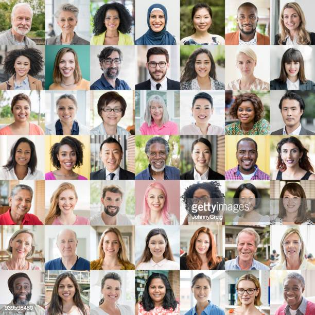 people of the world portraits - ethnic diversity - image montage stock pictures, royalty-free photos & images