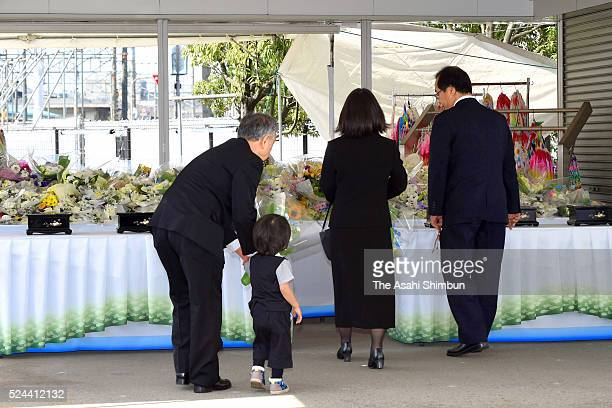 People offer flowers at an altar on the eleventh anniversary of the train derailment accident on April 25 2016 in Amagasaki Hyogo Japan The worst...