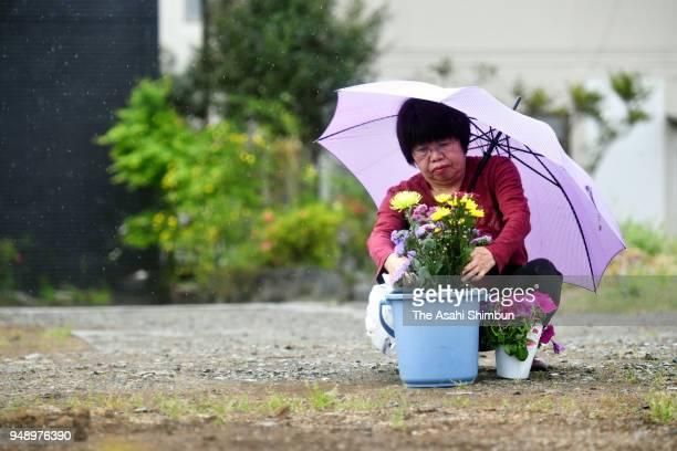 People offer flowers on the second anniversary of the Kumamoto Earthquakes on April 14 2018 in Mashiki Kumamoto Japan The first of the two big...