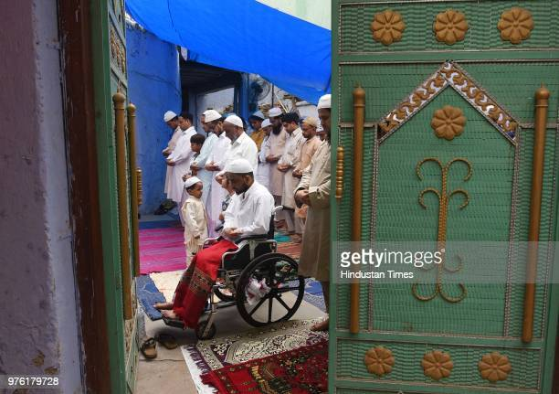Children greet each other after namaz on the occasion of Eidulfitr at Jama Masjid Kullu on June 16 2018 in Himachal Pradesh India The auspicious...