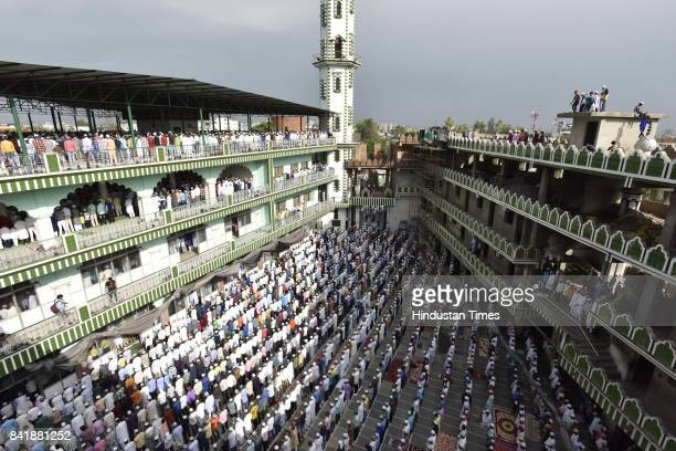 People offer prayers on the occasion of Eid alAdha the festival of sacrifice at Jama Masjid on September 2 2017 in Noida India Eid alAdha is...