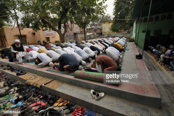 People offering Friday prayers at Jamia Faridya Jama Masjid after an eightyearold student of a Madrasa died after he sustained a head injury during a...