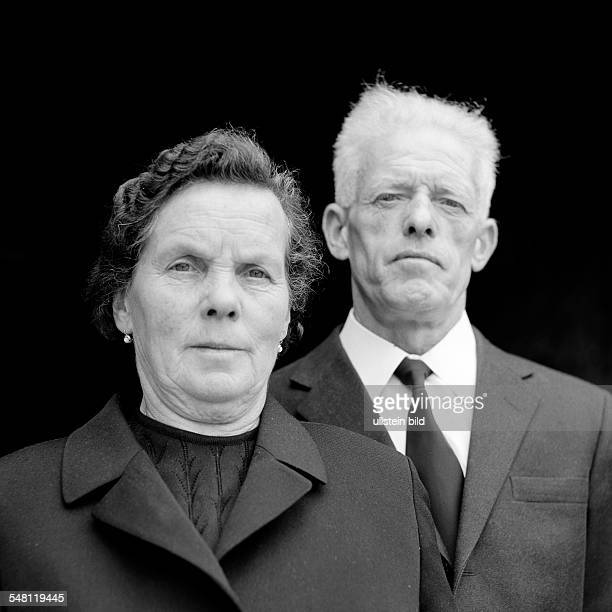 people older people older couple portrait mourning clothes black jacket black necktie aged 60 to 70 years Traut Michel