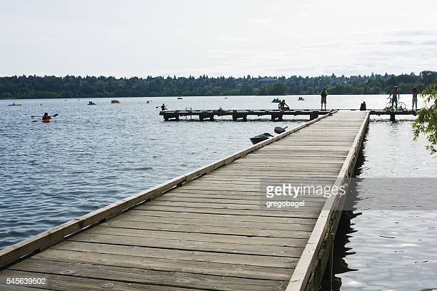 People on a dock at Green Lake in Seattle, WA