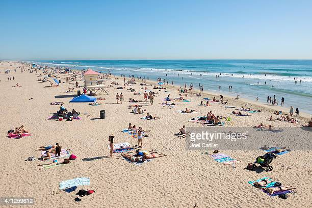 People on a Saturday afternoon at Huntington Beach, California
