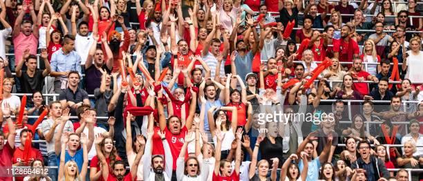 自分のチームを応援スタジアムの人々 - 応援 ストックフォトと画像