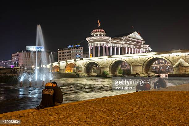 people on a summer night in skopje, macedonia - skopje stock pictures, royalty-free photos & images