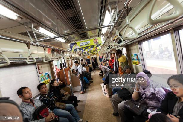 People on a Train in Jakarta, Indonesia