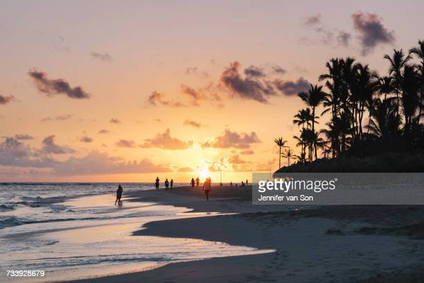 people on beach at sunset, bavaro beach, punta cana, dominican republic - punta cana fotografías e imágenes de stock