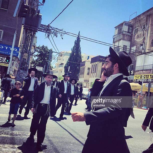 People on Bnei Brak streets, Israel