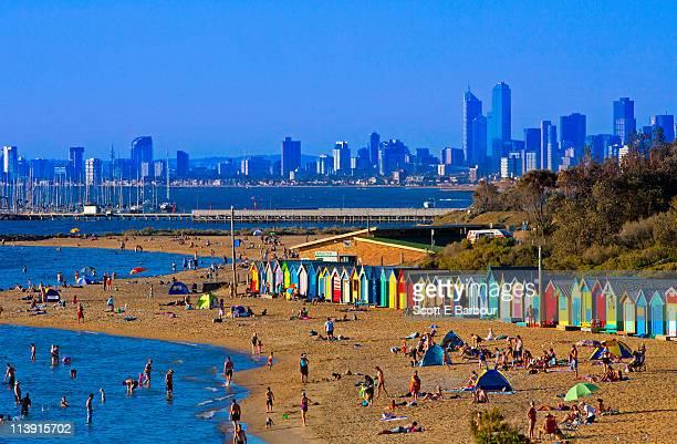 People on Brighton Beach in summer