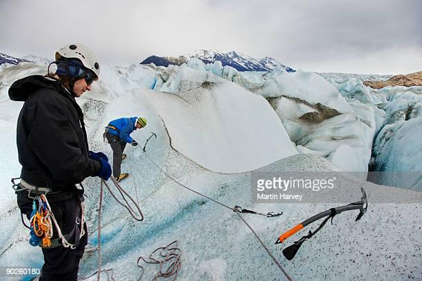 People on frozen mountainside