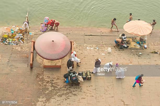 People on Ganges riverbank