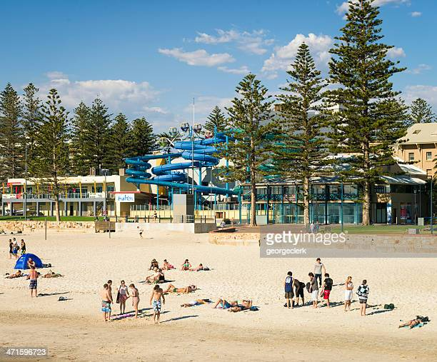 people on glenelg beach in adeladie - adelaide city stock pictures, royalty-free photos & images