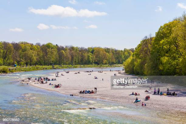 people on gravel bank der isar, downtown, munich, bavaria, germany - upper bavaria stock photos and pictures