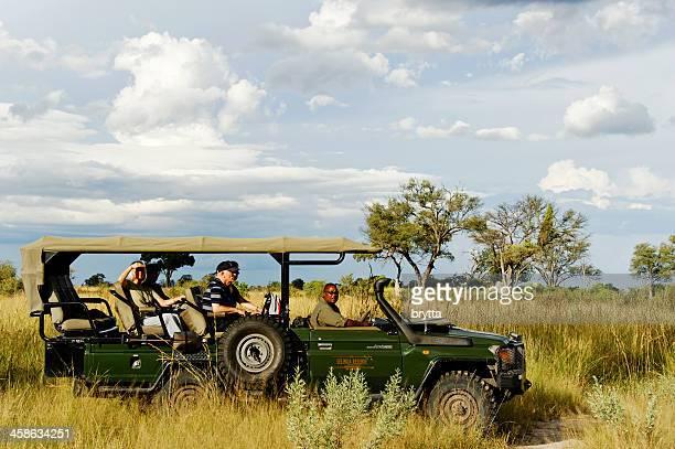 People on  jeep safari in Selinda Concession, Okavango Delta,Botswana