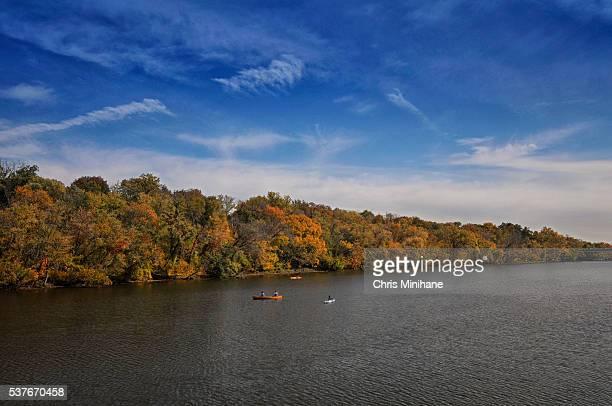 People on Kayaks on Potomac River Landscape Stock Image