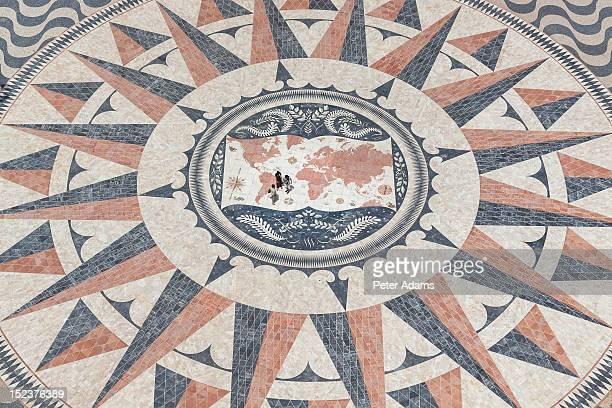 People on Mosaic Map, Lisbon, Portugal