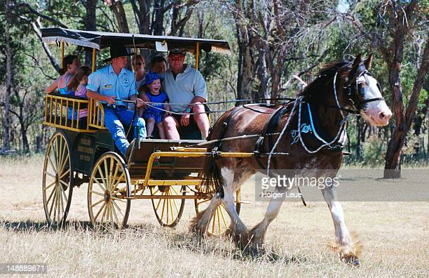 People on Pokolbin horse coach ride.