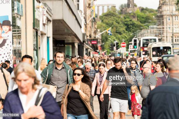 People on Princes Street in central Edinburgh