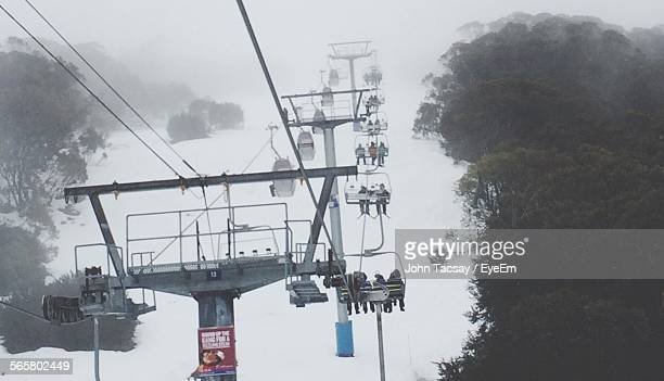People On Ski Lift At Mansfield In Winter