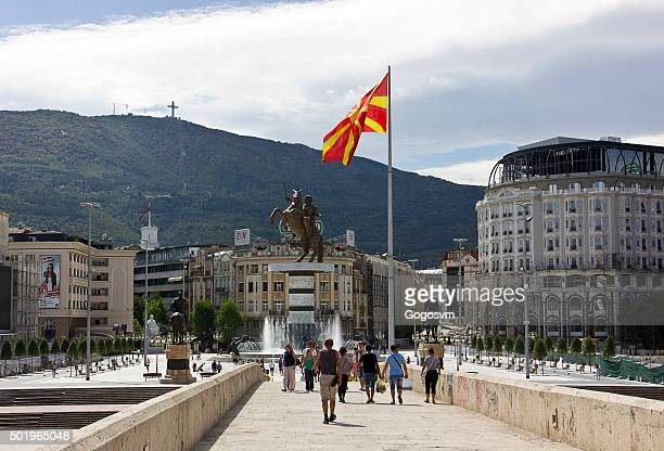 people on skopje square - skopje stock pictures, royalty-free photos & images
