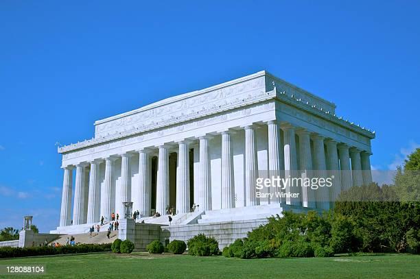 People on steps and platform of Lincoln Memorial, Washington DC, USA