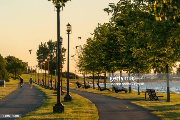 people on street by sea - montréal stock pictures, royalty-free photos & images