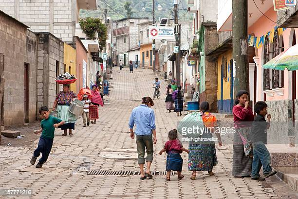 People on streets of Santa Maria de Jesus Guatemala