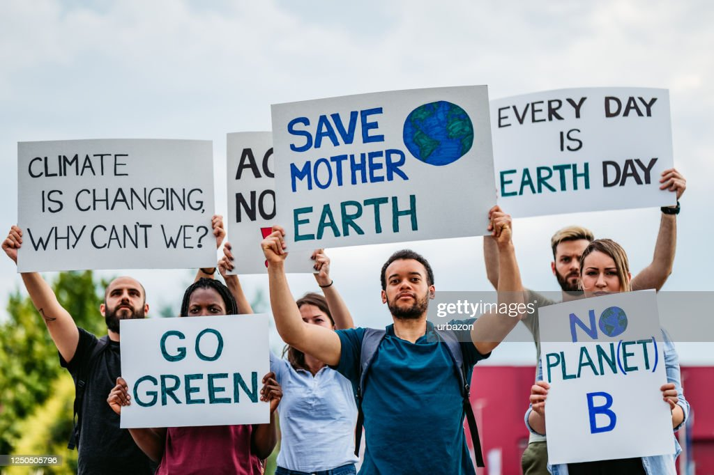 People on strike for climate change : Stock Photo