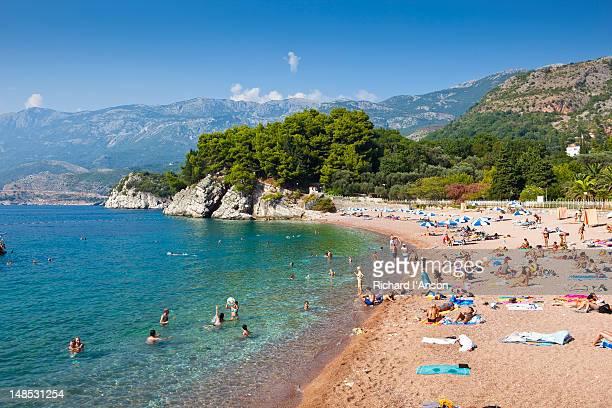 People on Sveti Stefan beach.