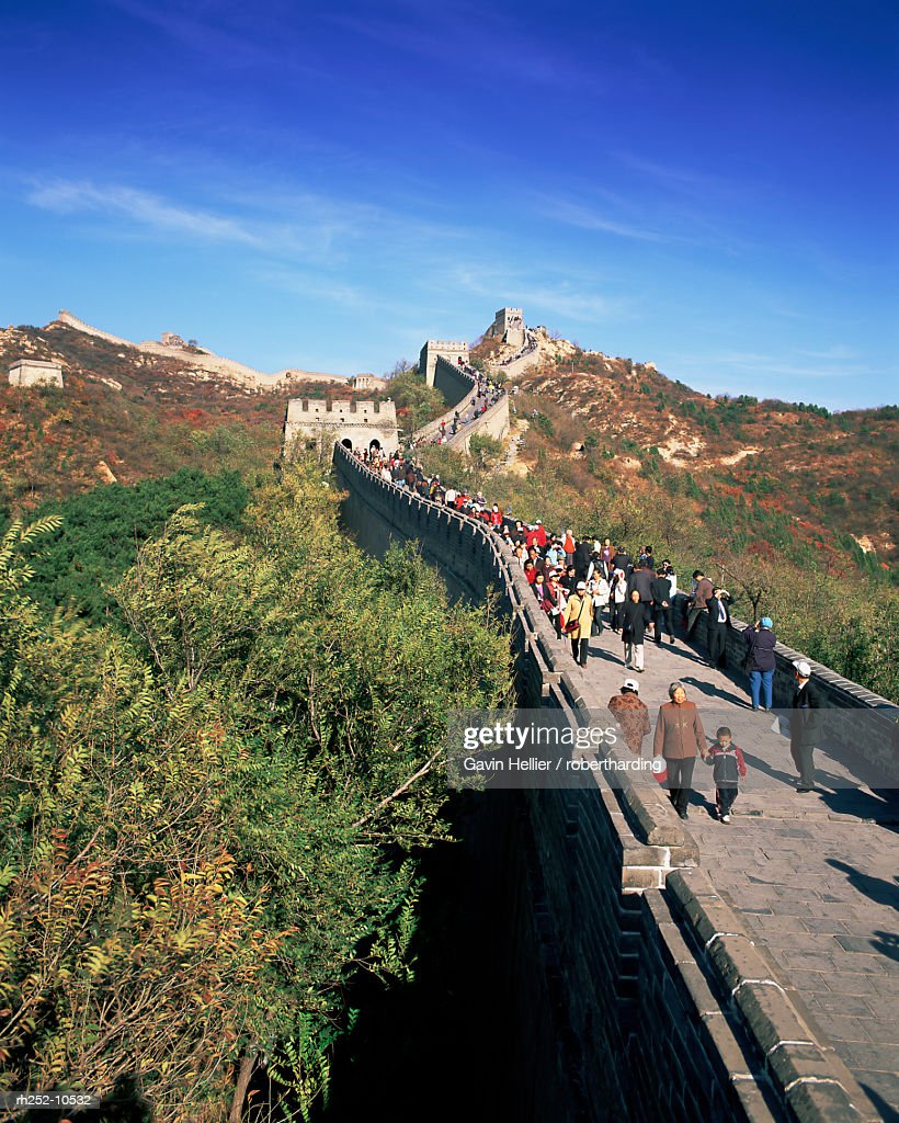 People on the Badaling section, the Great Wall of China, UNESCO World Heritage Site, near Beijing, China, Asia : Foto de stock