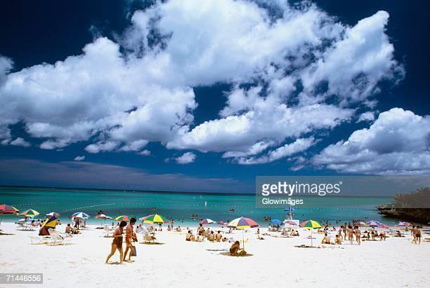 People on the beach, Moon Beach, Okinawa, Japan