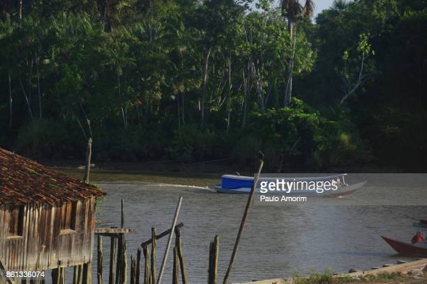 People on the Boats at Amazon rainforest in Brazil