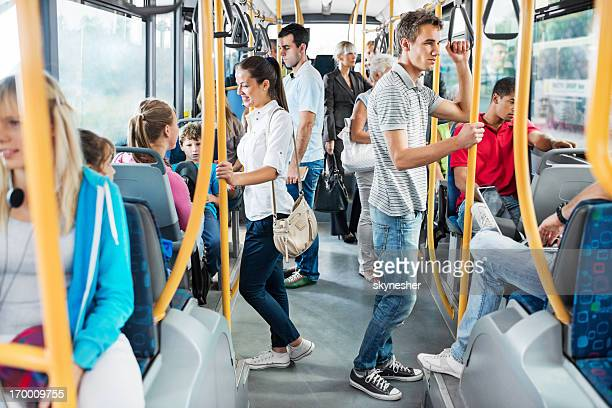 people on the bus. - vehicle interior stock pictures, royalty-free photos & images